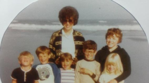 Hall and Gipson kids, 1982? Cannon beach, OR