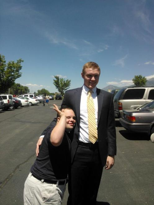 Brody and Dane. Saying goodbye before Dane left for his 2 year LDS mission. Summer 2013.