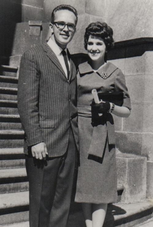 Hank and Ruth on steps of Salt Lake City, UT, temple. Wedding Day. September 9, 1960